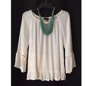Fred FD David White Boho Blouse Top EUC!